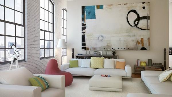 Intérieur salon chaleureux art moderne
