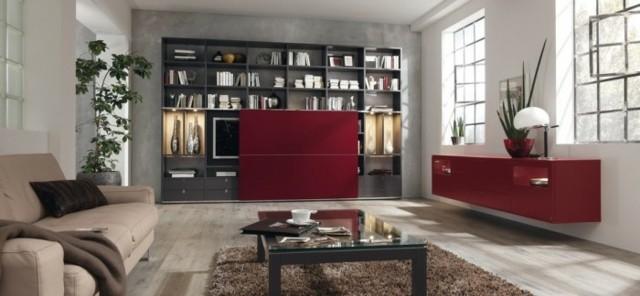 accent rouge meubles salon moderne