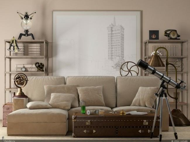 canapé beige salon moderne convivial
