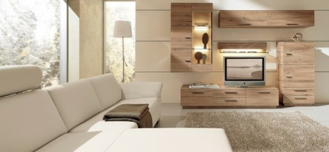 canapé cuir blanc salon contemporain