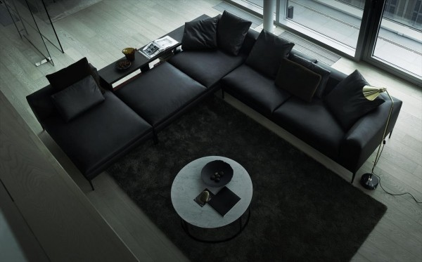 canapé de design cuir noir