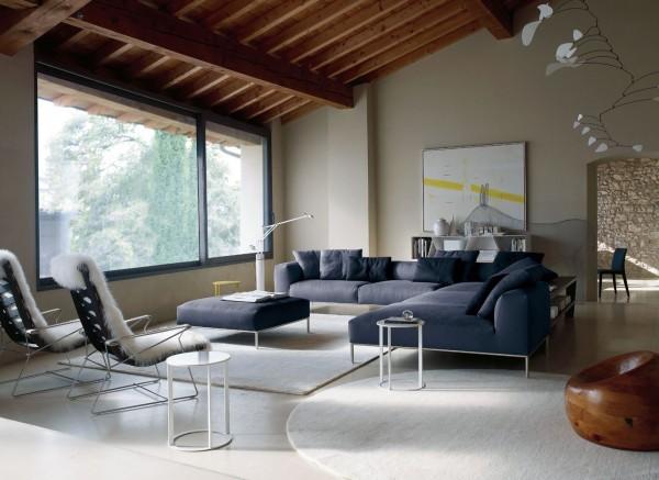 canapé modulaire de design bleu salon
