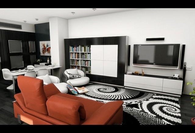 décoration de salon moderne canape orange