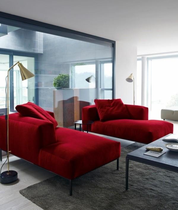 canapé rouge mobilier moderne salon