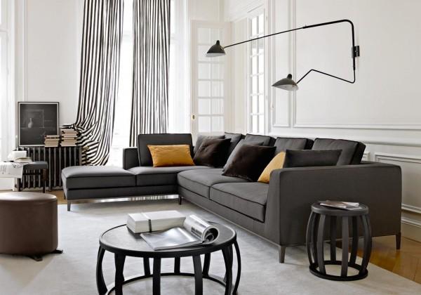 canapé tissu gris coussins jaunes design