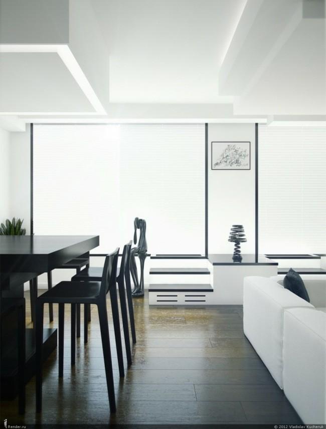 déco salon noir blanc moderne fenêtres