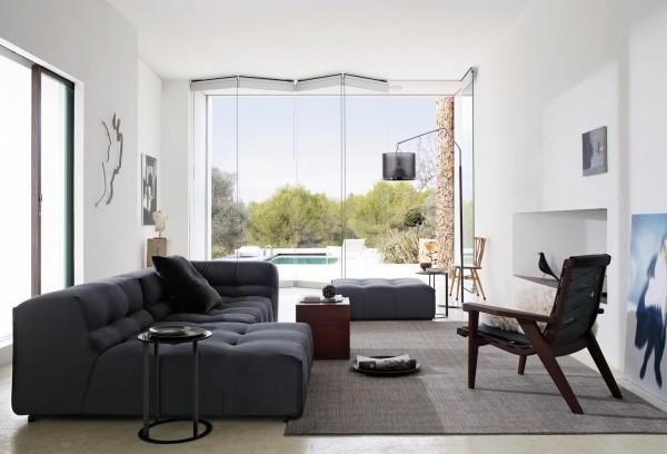 design original canapé gris foncé mobilier
