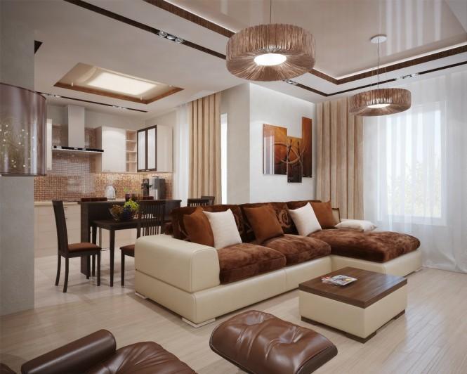 intérieur maison salon marron
