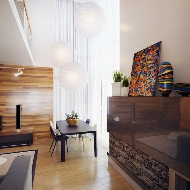 intérieur salon bois peinture colorée