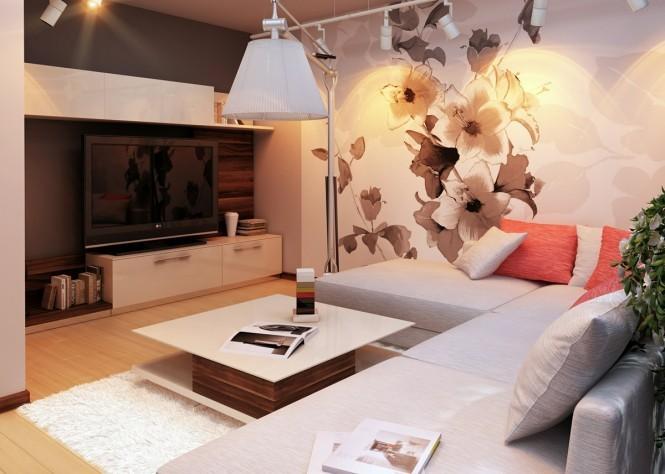 intérieur salon papier motif floral