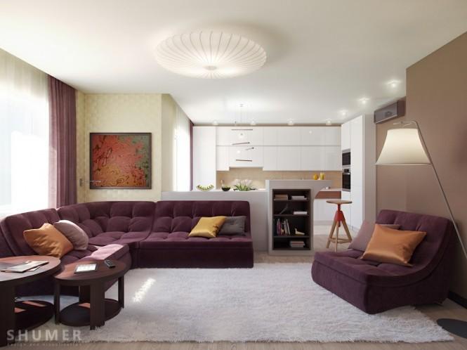intérieur salon sofa couleur prune