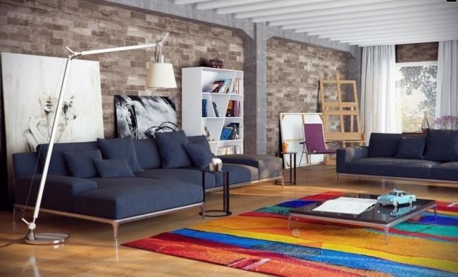 loft spacieux tapis multicolore mobilier