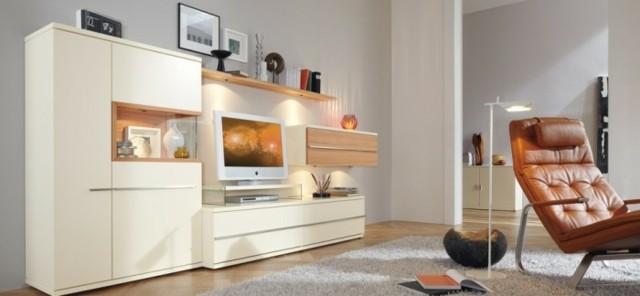 meubles ivoire cuir salon moderne