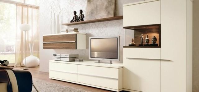 meubles ivoire télé bois tapis salon