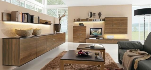 mobilier bois salon contemporain marron
