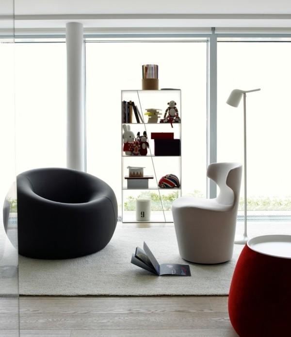 mobilier design moderne blanc rouge