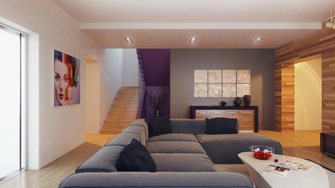 salon avec éscalier violet