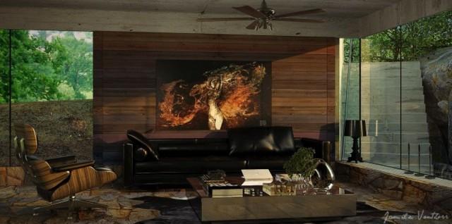 salon bois moderne