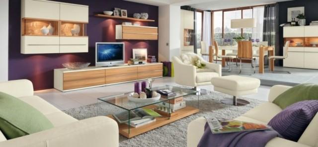salon contemporain couleurs violet vert ivoire