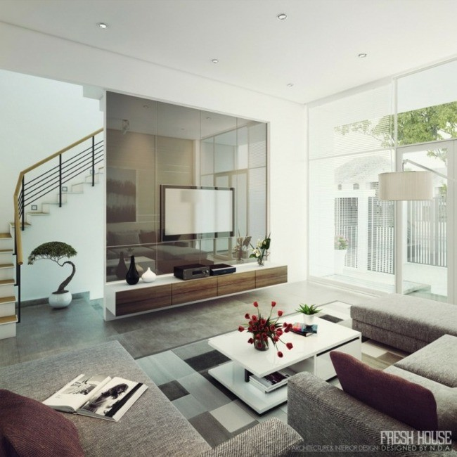 salon-contemporain-idee-deco-moderne - Decoration Salon !