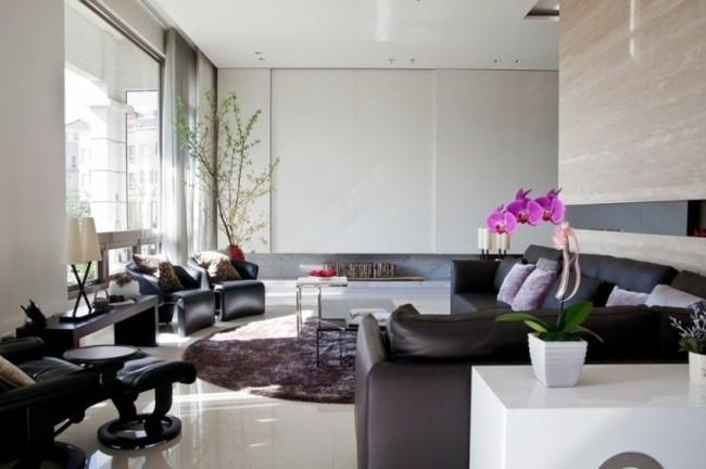 salon contemporain mobilier noir carrelage