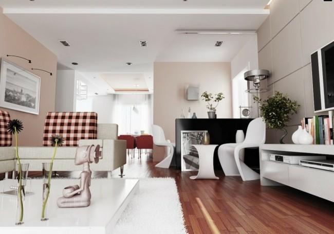 salon contemporain touches roses décoration