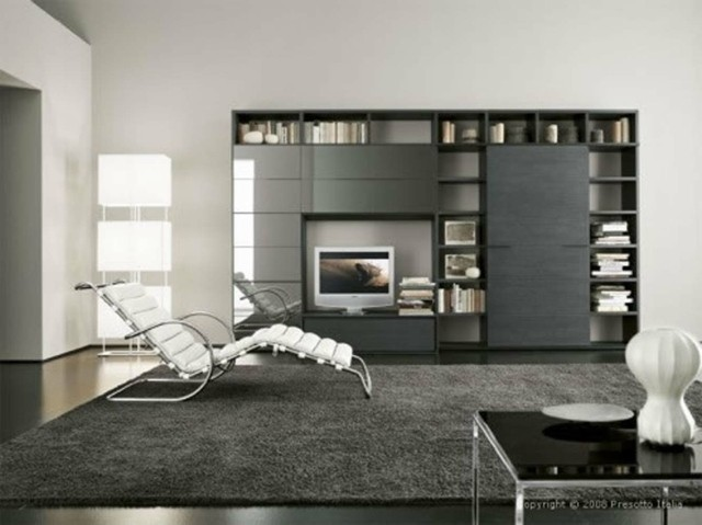 décoration de salon moderne gris minimaliste