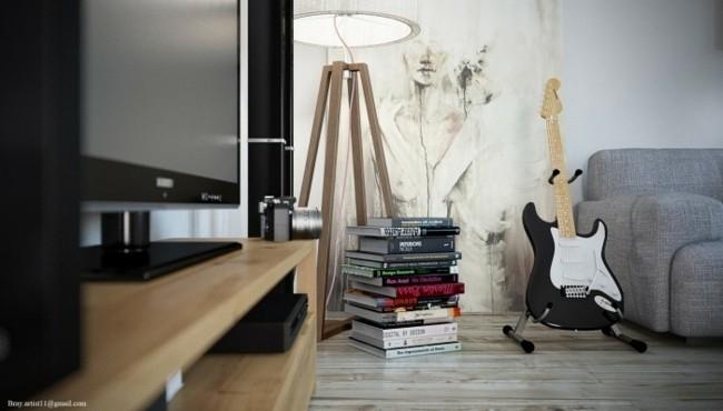 salon loft contemporain déco artistique