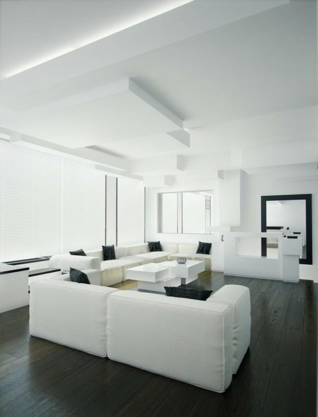 salon mobilier blanc sol bois