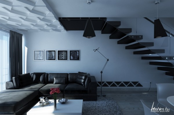 salon moderne appartement loft noir blanc