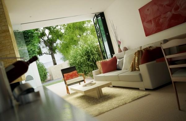 salon ouvert sur jardin déco moderne