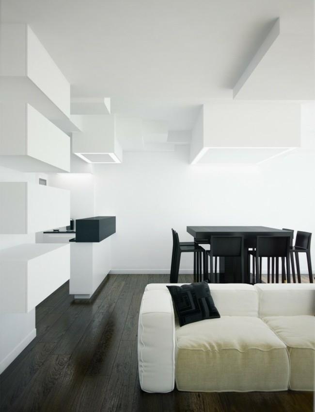 salon spacieux mobilier blanc noir