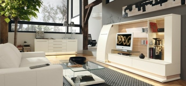 salon spacieux moderne meubles blanc