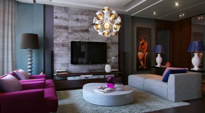 sofa violet intérieur gris bleu