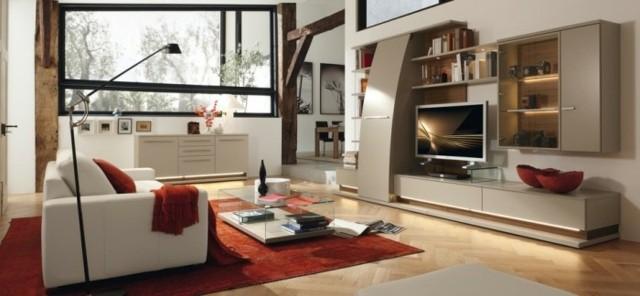 tapis rouge salon moderne meuble gris
