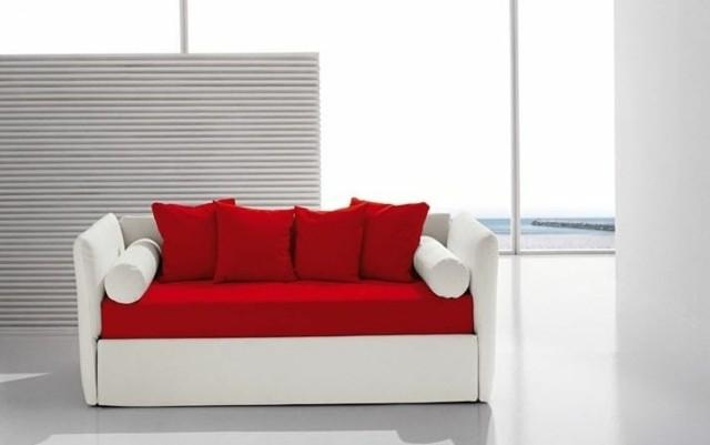 canapé blanc rouge Biba