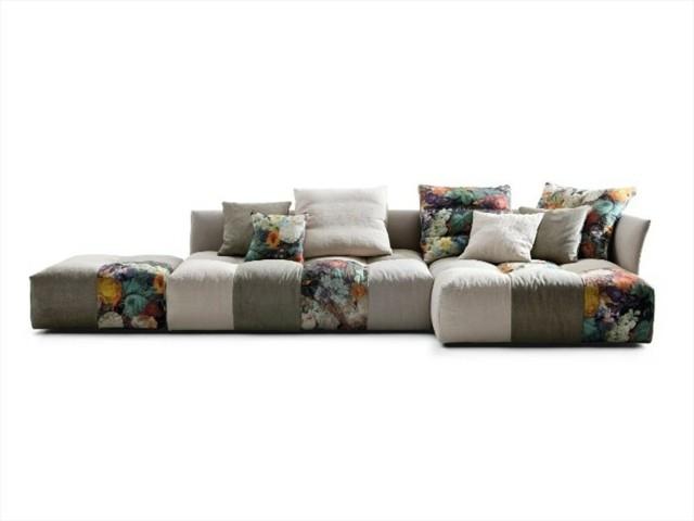 canapé angulaire patchwork design