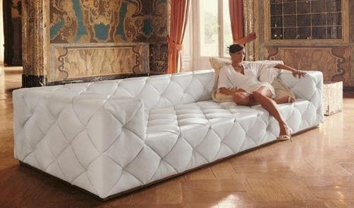 canapé cuir blanc luxe élégant