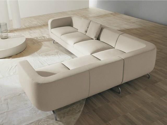 canapé d'angle cuir blanc salon