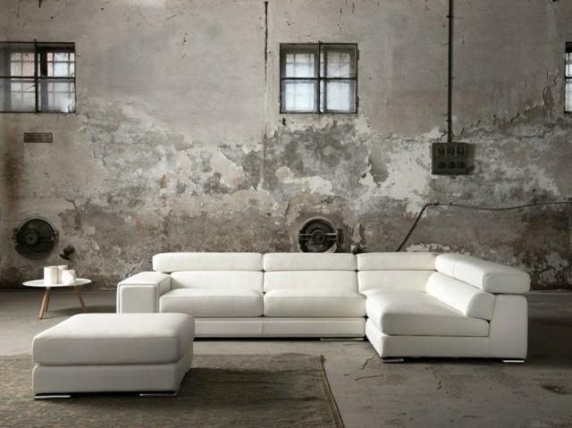 canapé d'angle élégant cuir blanc