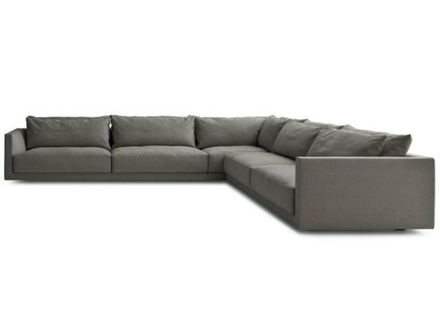 canapé d'angle gris coussins 5 places