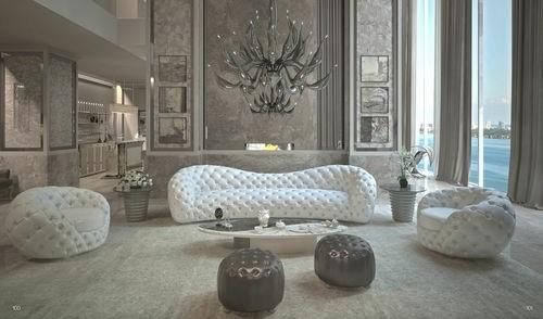 canapé luxueux cuir blanc chic