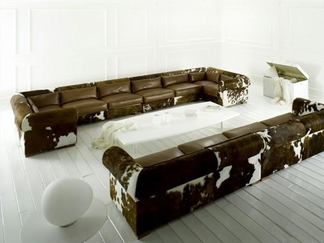 canapé marron blanc dessin peau vache