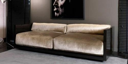 canapé peluche beige noir moderne