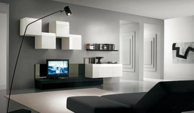 cubes blancs meuble télé noir