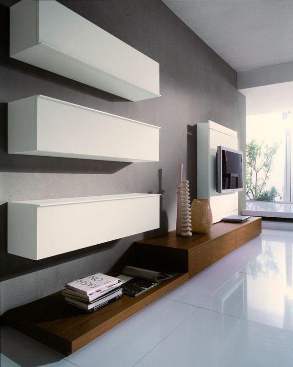 déco salon blanc meuble télé
