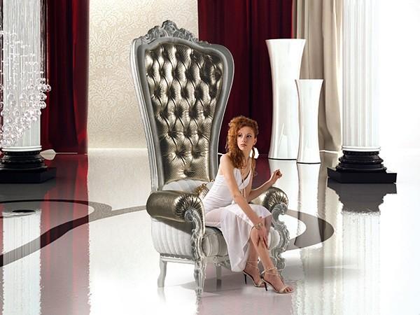 fauteuil de salon argent throne