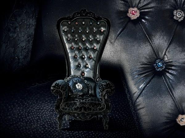 fauteuil salon cuir noir design
