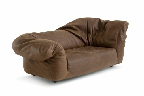 forme irrégulière canapé cuir marron