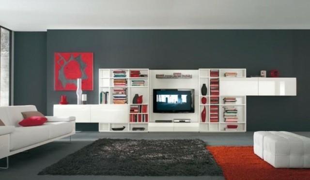 grand meuble tv- étagères blanches